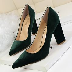 f8675b076a97 2016 Sexy Black Flock Simple Women Shoes Thick High Heel Platform Woman  Pumps Summer Pointed Toe