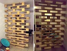 Cinco divisórias com pallets pra inspirar Pallet Home Decor, Diy Pallet Projects, Diy Home Decor, Pallet Furniture Designs, Diy Furniture, Christmas Towels, Wall Decor Design, Wood Pallets, Pallet Partition