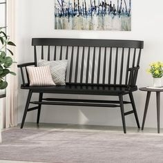 Bar Furniture, Furniture Deals, Outdoor Furniture, Outdoor Decor, Dining Bench With Back, Black Dining Bench, Black Bench, Windsor Bench, Farmhouse Bench
