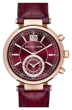 Free shipping and returns on MICHAEL Michael Kors 'Sawyer' Leather Strap Watch, 39mm at Nordstrom.com. The brushed sunray dial of this gorgeous watch boasts bar indexes embellished with sparkling crystals and an elegant three-hand design detailed with a subseconds eye and a date window. A slender, embossed leather strap completes the fetching look.