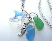 'Sea Glass & Seahorse Charm Necklace' is going up for auction at  8am Sun, Oct 21 with a starting bid of $10.