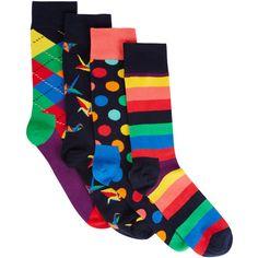 Happy Socks Origami socks gift set ($35) ❤ liked on Polyvore featuring men's fashion, men's clothing, men's socks, mens striped socks, mens colorful socks, mens polka dot socks and mens argyle socks
