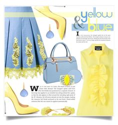 """""""Yellow and Blue"""" by captainsilly ❤ liked on Polyvore featuring DressCamp, Boutique Moschino, Relaxfeel, Henri Bendel, Sandy Hyun, Bucherer and Bourbon and Boweties"""