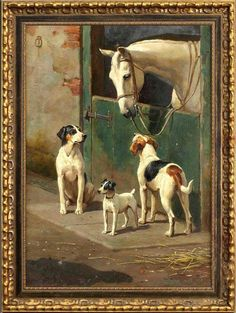 """Old Master-Art Antique Oil Painting Portrait horse dog on canvas 24""""x36"""" in Art, Art from Dealers & Resellers, Paintings 