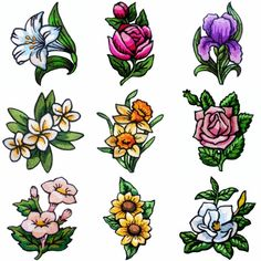 """Fantastic Florals"" includes 14 vibrant floral designs for hoops. Lily, roses, iris, daffodil, gardenias and more! Embroidery Tattoo, Rose Embroidery, Custom Embroidery, Machine Embroidery Designs, Peony Flower, Floral Flowers, Florals, Traditional Tattoo Flowers, Daffodil Tattoo"