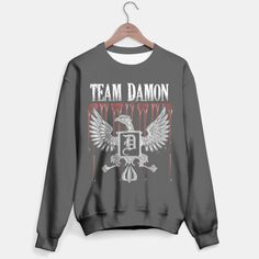 Team Damon Blood Crest Sweater, Live Heroes | Inspired by Vampire Diaries