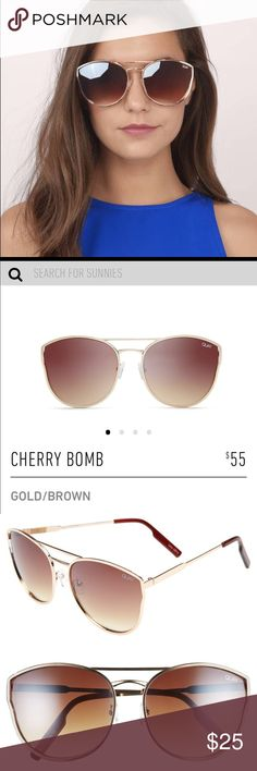 """6c3c28f811c Quay Australia """"Cherry Bomb"""" Gold Brown These rounded oversized cat eye  sunnies feature a metal frame"""