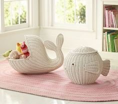 wicker whale and wicker fish