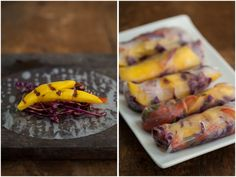 Grilled Mango and Spicy Cabbage Spring Rolls Recipe.