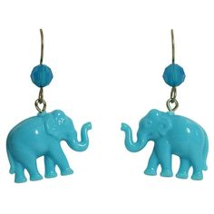 Tarina Tarantino Tiny Caravan Blue Lucite Elephant Pierced Earrings