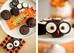 Baby Shower Candy Buffet pic (a run-thru) - Weddingbee. For cupcakes use Oreo cookies and round candy (here it's Reese's pieces). Could use mini Oreos instead. Owl Cupcakes, Cute Cupcakes, Cupcake Cakes, Cupcake Ideas, Frost Cupcakes, Decorated Cupcakes, Gourmet Cupcakes, Fruit Cakes, Easter Cupcakes