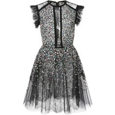 Elie Saab     Beaded Embroidered Tulle Dress (£5,760) ❤ liked on Polyvore featuring dresses, elie saab, black, sequin cut out dress, elie saab dresses, tulle dress, tulle cocktail dress and lace panel dress