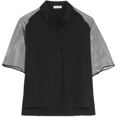 Vionnet Mesh-paneled cotton-blend poplin shirt (500 TND) ❤ liked on Polyvore featuring tops, black, shirt top, cotton blend shirts, vionnet tops, side slit shirt and cut loose shirt
