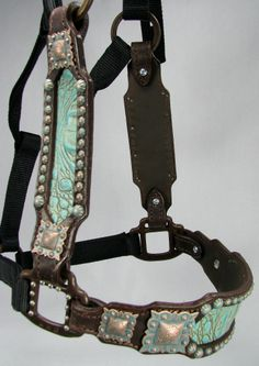 Turquoise Gator Inlaid Halter with Copper Patina Verdigris Conchos by Running Roan Tack