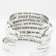Inspirational Bracelet, Confidence Cuffs® Hand Stamped Secret Message Bracelets, Inspirational Jewelry, Quote Jewelry, Graduation Gift Her Bracelet Message, Bracelet Quotes, Jewelry Quotes, I Love Jewelry, Metal Jewelry, Jewelry Making, Silver Jewelry, Jewelry Ideas, Jewelry Rings