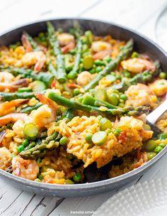 Paella ze szparagami i krewetkami Paella, Pescatarian Recipes, Food Inspiration, Dairy Free, Gluten Free, Dinner Recipes, Good Food, Veggies, Meals