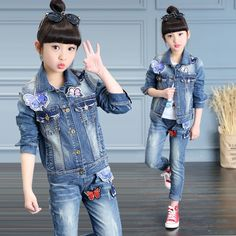 31.44$  Buy here  - Girls Outfits Butterfly Denim Coats & Jeans 2Pcs Spring Autumn Jackets For Girls Pants Children Clothing Sets 4 6 8 10 12 Years