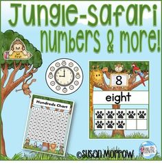 Jungle-Safari+Theme+Number+Posters,+Charts+and+More!Have+fun+teaching+numbers,+ordinal+position+and+time+with+this+Jungle+Safari+Theme+Number+Posters+and+Charts.+++This+product+includes:+Number+posters+for+0-20+which+include+the+numeral,+word,+and+ten+frames.