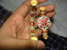 Meenakari, traditional Indian enameling by Prabhakar Soni, dissembled gold bracelet.