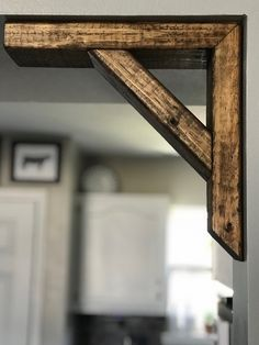 corbel pair for entryway - a great, affordable way to add some character! Different stain options available, one pictures is dark walnut Home Renovation, Home Remodeling, Rustic Kitchen, Kitchen Ideas, Kitchen Decor, Casas Containers, Home Projects, Diy Furniture, Farmhouse Decor