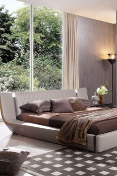 This uniquely designed modern bed will provide your room with unparalleled sophisticated elegance. You will love its clean and modern silhouette! Oak Beds, Modern Bedroom, Modern Lighting, Brown And Grey, Denmark, Modern Design, Bedding, Silhouette, Lights