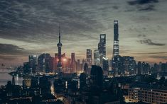 Download wallpapers Shanghai, skyscrapers, evening city, China, Asia