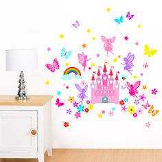 Fairy Castle, Fairies, Rainbow, Butterfly and Flowers - Girls Peel & Stick Printed Wall Art Vinyl Stickers - Designed by Rubybloom Designs Butterfly Room, Rainbow Butterfly, Rainbow Wall, Butterfly Flowers, Removable Wall Stickers, Vinyl Wall Stickers, Vinyl Wall Art, Wall Decals, Kids Artwork