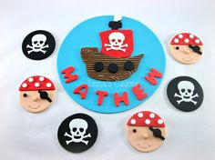 Pirate Party Set  1 Edible Fondant Cake Topper & 12 Cupcake  see etsy, $60 plus postage