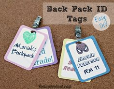 Back Pack ID Tags