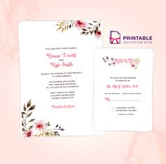 Clean, Delicate Vintage Floral Invitation and RSVP Printable PDF Templates (free to download)