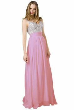 Beautifly Girl's V-neck Sequin Chiffon Maxi Long Prom Homecoming Dress Ball Gown #BeautifulGirls #Chiffon #Maxi #Long #Dress #Gown