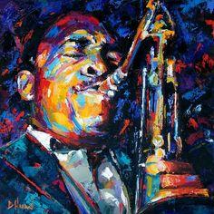 John Coltrane jazz saxophone art oil painting by Debra Hurd