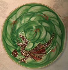 Vintage Japanese Dragon Plate Green  Display Plate with Embossed Dragon and Gold Rim  Japanese Dragon Decor  Dragon Collectors Plate by Curioshop1 on Etsy