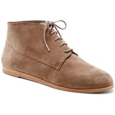 Dolce Vita Aldrige Chukka Booties ($120) ❤ liked on Polyvore featuring shoes, boots, ankle booties, taupe, laced boots, round cap, laced booties, lace up boots and taupe ankle booties