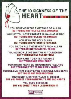The 10 of the Oh Allah heal our hearts from these sicknesses. Islamic Inspirational Quotes, Islamic Quotes, Motivational Quotes, Oh Allah, Truth Of Life, Prophet Muhammad, Holy Quran, Arabic Words, Way Of Life