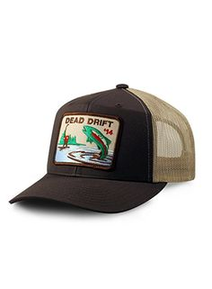 Dead Drift Fly Bow Trucker Brown Tan Snapback (One Size fits Most 0d51d47e08b2