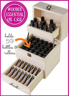 I LOVE this beautiful wooden essential oil box!!! Look at all this storage in such a little space. It has a drawer plus two trays– in total it holds 59 bottles (45 traditional bottles and 14 roller bottles!!