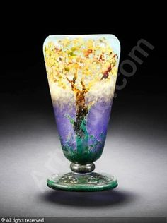 DAUM Nancy - 'Arbres Roux' Vase