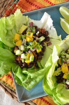Black Bean Lettuce Wrap Tacos with Mango Avocado Salsa