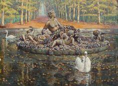 SOLGT. Einar Wegener: Bassin de Flore, Versailles. Sign. Einar Wegener 1917…