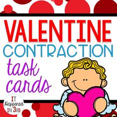 Contraction Task Cards- Valentine's Day Themed