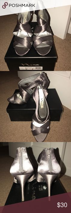 "Melizza Heels Gorgeous dress sandal, Satin upper, approx 3"" heel, functional back zipper detail. Worn once! Size 10M. Color is ""Metal Dust"" Nina Shoes Heels"