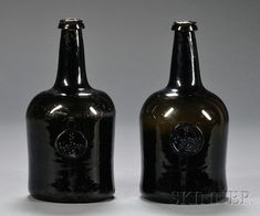 """Two Olive-Amber Blown Glass Wine Bottles with """"S Colton 1767"""" Seal"""