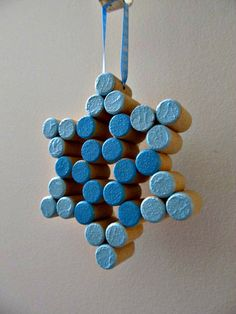 Wine Cork Snowflake  Sparkly Blue Paint with by LizzieJoeDesigns