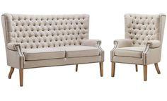 Abe Classic Beige Grey Oak Linen Wood Living Room Set