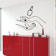 New Girl Nail Hand Vinyl Wall Decal Manicure Hands Beauty Salon Murals Wall Sticker Salon Shop Decoration Window Glass Sticker