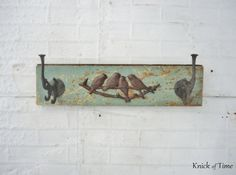 Birds of a Feather Coat Rack created from antique salvaged courthouse wood by KnickofTime