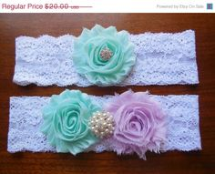 Aqua Garter Garter Wedding Garter Lace by BloomsandBlessings