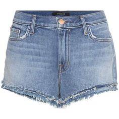 J Brand Sachi Mid-Rise Denim Shorts (7.055 UYU) ❤ liked on Polyvore featuring shorts, blue, blue shorts, denim shorts, j brand, short jean shorts and mid rise jean shorts