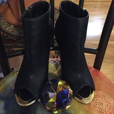 Ankle open toe bootie Gold accent booties. Brand new. Only tried on. No box. Mark & Maddux Shoes Ankle Boots & Booties